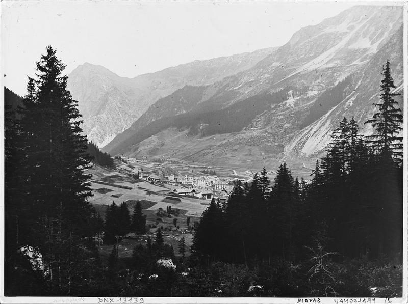 Paysage de montagne : vue plongeante sur le village à travers les sapins