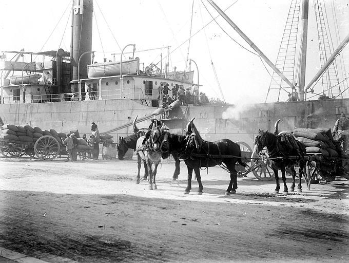 Bateau et charrettes de transport de marchandises