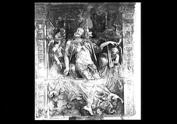 Haut-relief en pierre, le Christ entouré d'anges