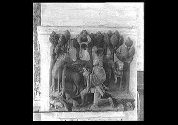 Châsse  religieuse de saint Hubert, groupe en bois