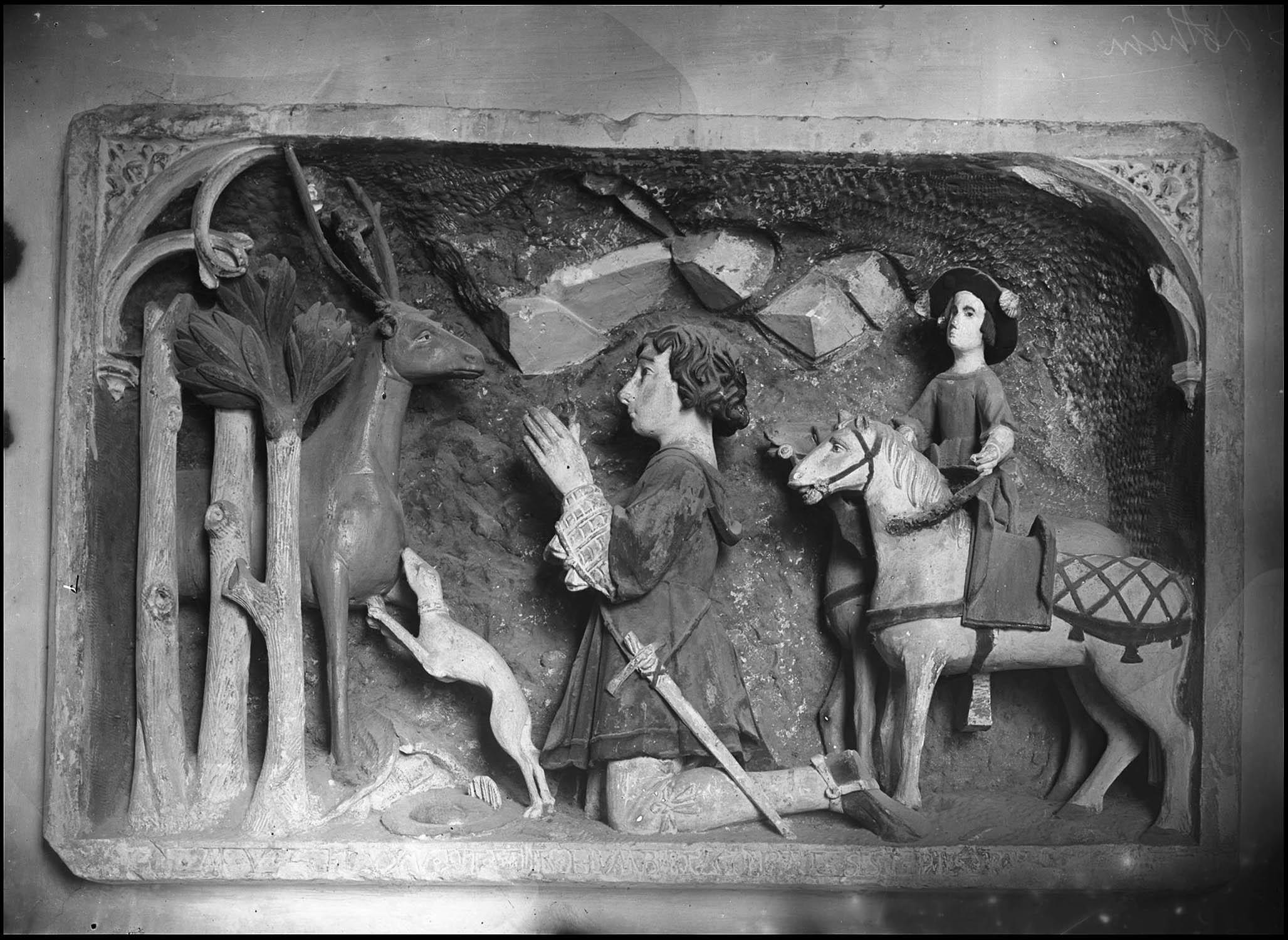 Bas-relief : La Chasse de saint Hubert