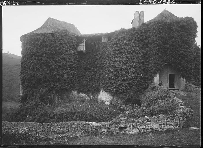 Vue d'ensemble de la façade couverte de lierre