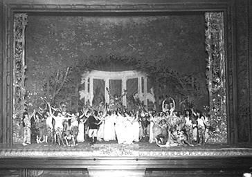 Acteurs jouant dans 'Aux beaux jardins de France' au Théâtre de l'Opéra-Comique