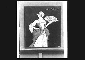 Dessin caricatural : portrait de l'actrice Cécile Sorel