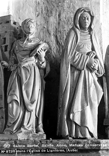 Statue en pierre, sainte Anne et sainte Barbe