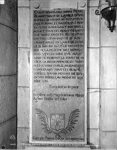 Plaque funéraire de Pierre Blasset, sculpteur, mort en 1663