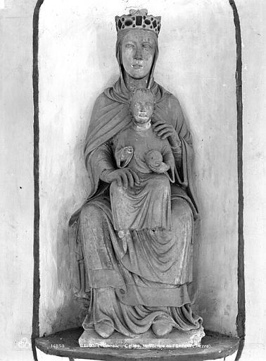 Statue en pierre peinte : Vierge à l'Enfant