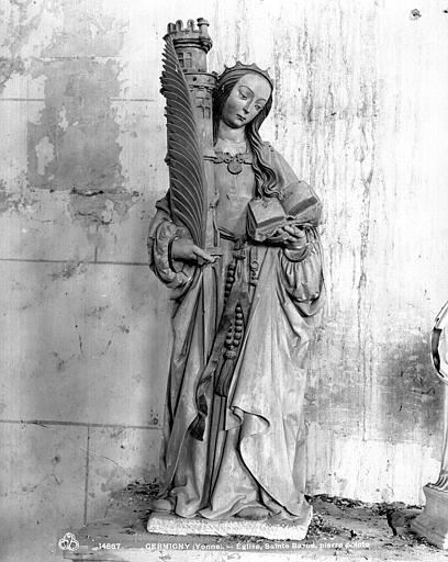 Statue en pierre : Sainte Barbe