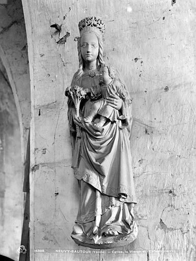 Statuette en pierre : Vierge à l'Enfant
