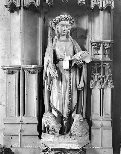 3 statues : Vierge à l'Enfant, Sainte Agnès, Sainte Reine