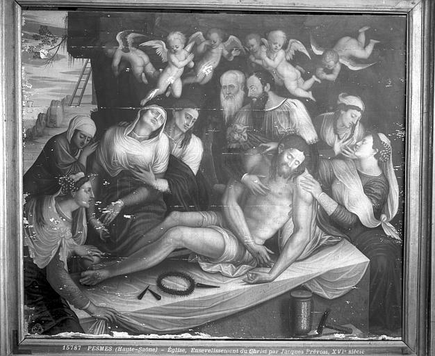 Triptyque : la Mise au tombeau et deux donatrices, Catherine Mairot et Jeanne le Moyne