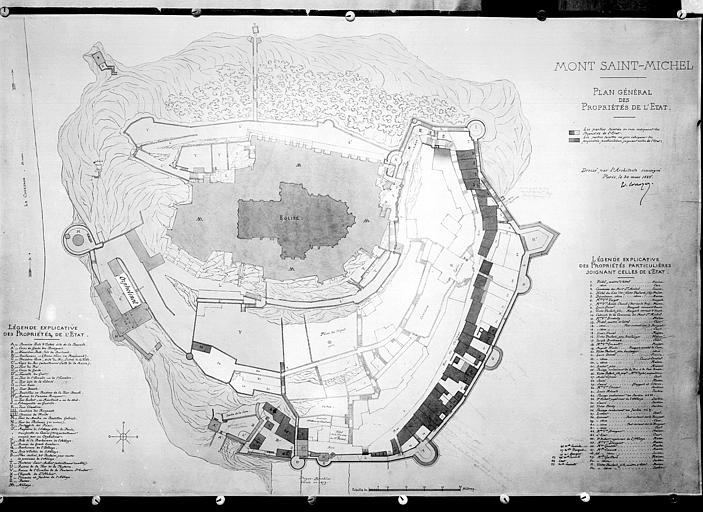 Plan du rez-de-chaussée de l'abbaye et plan des propriétés de l'Etat. Plan du rez-de-chaussée de l'abbaye, plan des propriétés de l'Etat