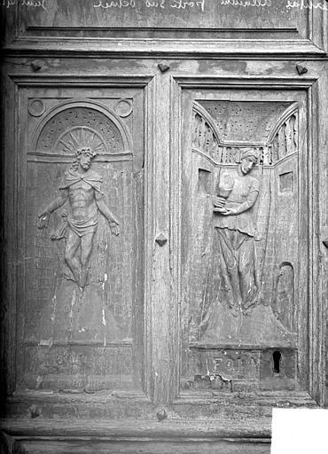 Panneaux sculptés du portail : la Justice et la Foi