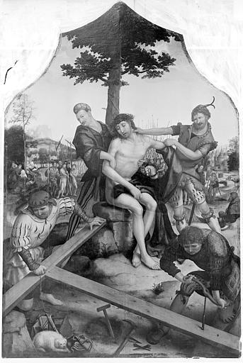 Triptyque peint, panneau central : le Christ entre les bourreaux