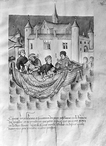 Miniature de manuscrit : Personnages repêchant des enfants