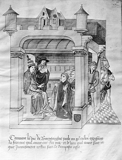 Miniature de manuscrit : Le pape et le duc de Bourgogne