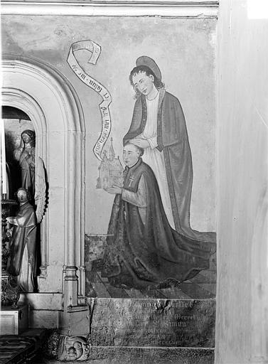Peinture murale encadrant la Mise au tombeau dans la chapelle Sainte-Croix : Donateur et son saint patron (côté droit)
