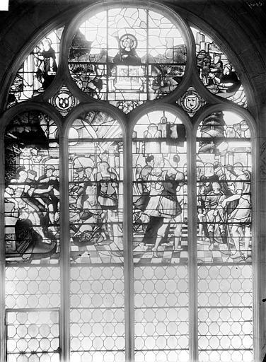 5 verrières : le Portement de croix et la Crucifixion, scènes de la Vie d'Adam et Eve, la Vie de sainte Barbe, la Vie de saint Fiacre, Suzanne et les vieillards