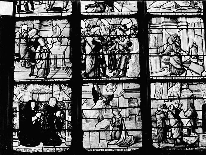 Vitrail : La légende et le martyre de sainte Barbe