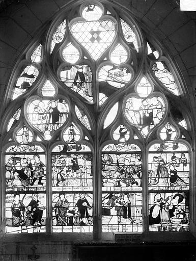 Vitrail du bas-côté sud de la nef, troisième travée ouest : Légende de saint Hubert