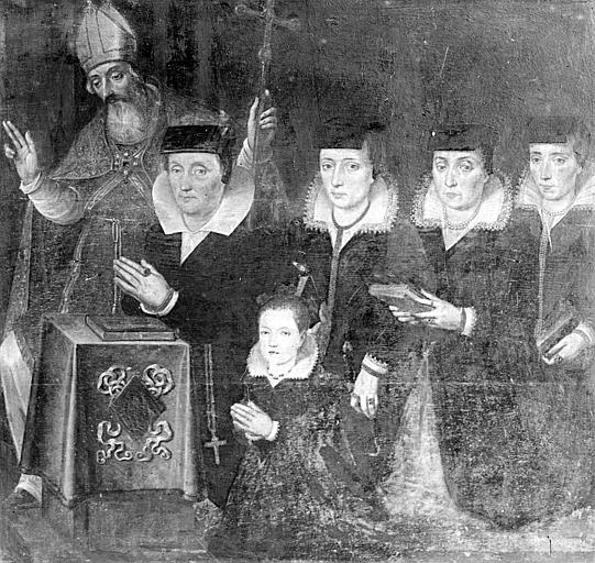 Panneau peint (ancien volet de triptyque) : Donatrices et leur saint patron