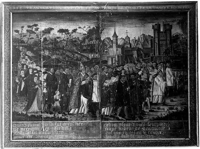 Panneau peint de diptyque : La Translation des cendres de saint Vorles de Marcenay à Châtillon