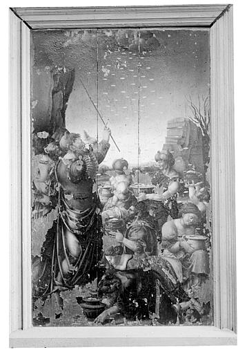 Panneau peint : La Manne céleste