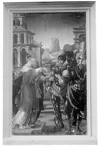 Panneau peint : Melchisédech offrant les pains expiatoires