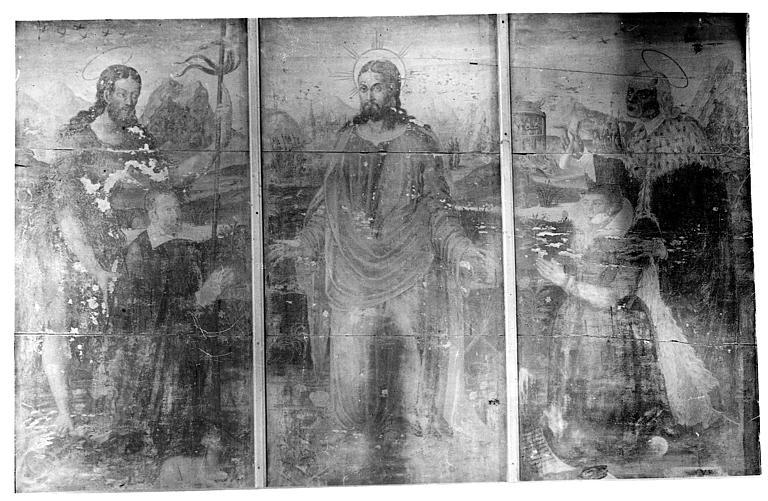 Triptyque peint : Le Christ, les donateurs et donatrices et leurs saints patrons