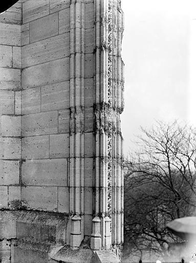 Pinacle de la façade sud : Détail montrant l'effritement et la désagrégation de la pierre