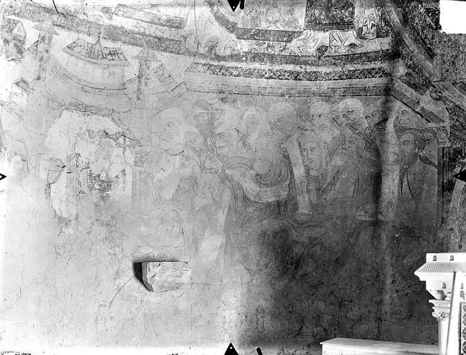 Crypte Saint-Catherine - Peintures murales du choeur (partie sud de l'abside, registre inférieur) : Sainte Catherine couronnée discutant avec les rhéteurs d'Alexandrie