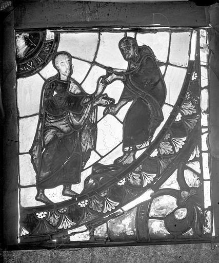 Vitrail de la Découverte des reliques de saint Etienne. Partie inférieure droite : Nigecius et Lucien se rencontrent