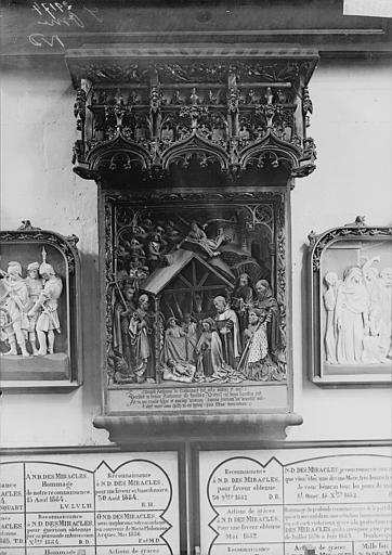 Monument funéraire d'Antoine de Tramecourt : La Nativité, le donateur accompagné de saint Antoine et trois saints