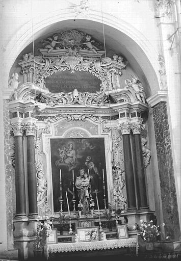 Retable, tableau : Purgatoire (Le), statue : saint Joseph et l'Enfant