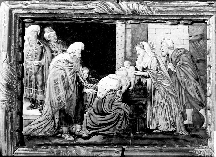 Canon d'autel dit tableau du 'dernier Evangile' : l'Adoration des Mages (ensemble de 3 canons d'autel)