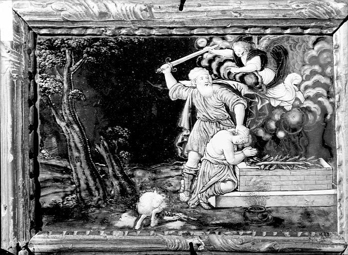 Volet gauche du canon d'autel central : le Sacrifice d'Abraham (canon d'autel central en triptyque)