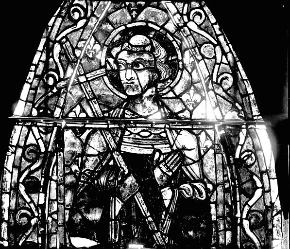 Vitrail, déambulatoire, septième fenêtre haute, premier panneau, lancette gauche en haut