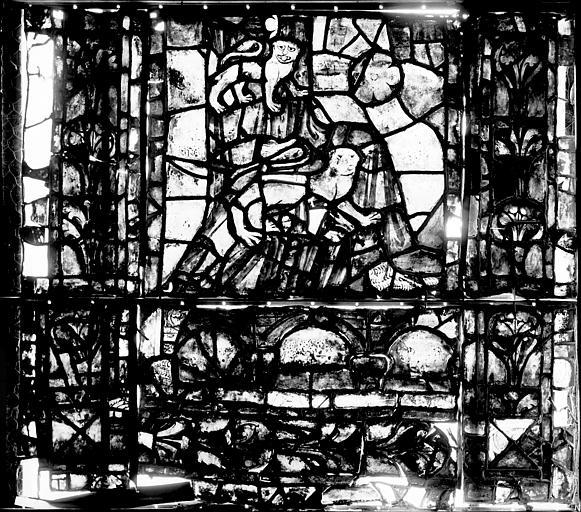 Vitrail, déambulatoire, septième fenêtre haute, quatrième panneau, lancette médiane en bas