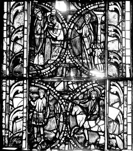 Vitrail, déambulatoire, huitième fenêtre haute, lancette droite, deuxième panneau au milieu