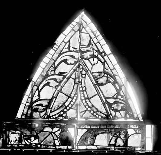 Vitrail, déambulatoire, huitième fenêtre haute, lancette droite, partie supérieure et bande inférieure