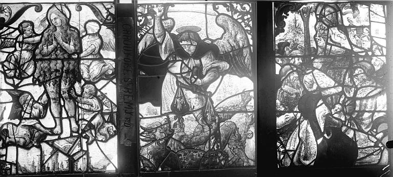 Vitrail, fenêtre E, panneaux médians