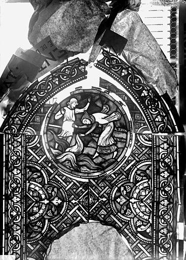 Vitrail, verrière de saint Crépin et saint Crépinien, panneau supérieur