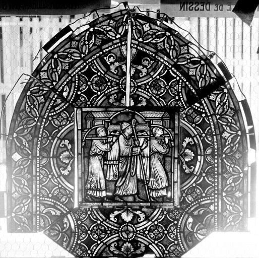Vitrail, verrière de saint-Sexte et saint-Sinice, panneau supérieur