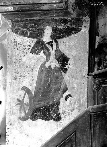 Nef, pilier nord contre la chaire, peinture murale de sainte Catherine