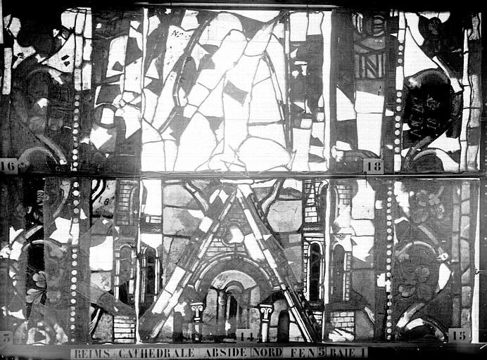 Vitrail, abside nord, cinquième fenêtre, baies 1 et 2