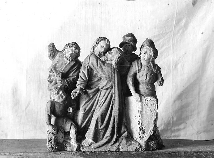 Retable, haut-relief en bois, détail, Le Baiser de Judas