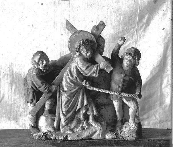 Retable, haut-relief en bois, détail, Le Portement de Croix