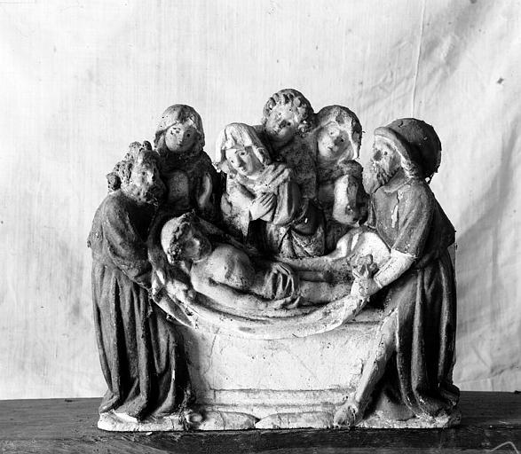 Retable, haut-relief en bois, détail, La Mise au Tombeau
