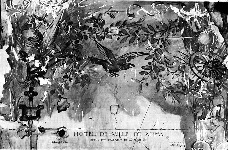 Relevé, cabinet du maire et cabinet contigu, vestiges de peintures murales