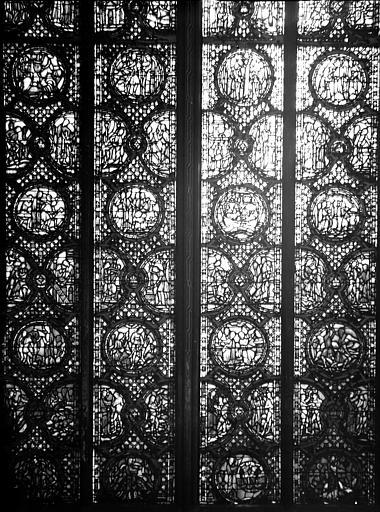 Vitrail, nef, vue du nord, première fenêtre, partie basse